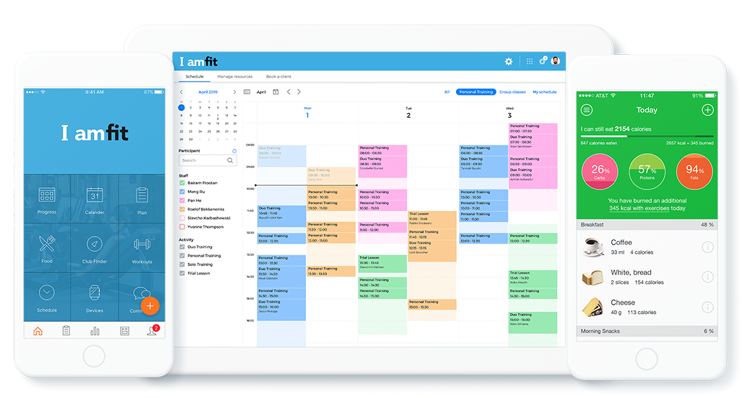 Scheduling, mobile app and nutrition